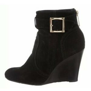 Tory Burch RARE Deanna Suede Black Ankle Boots Gold color Buckle Size 6.5